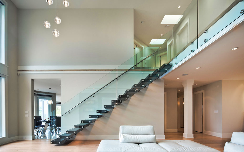 Simply lux glass interior for Indoor balcony railing